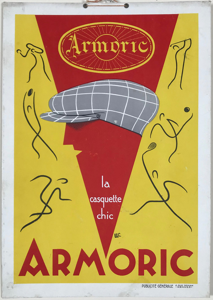 Armoric La Casquette Sports Chic (Store Display) Original 1930 French Vintage Poster by LEC.