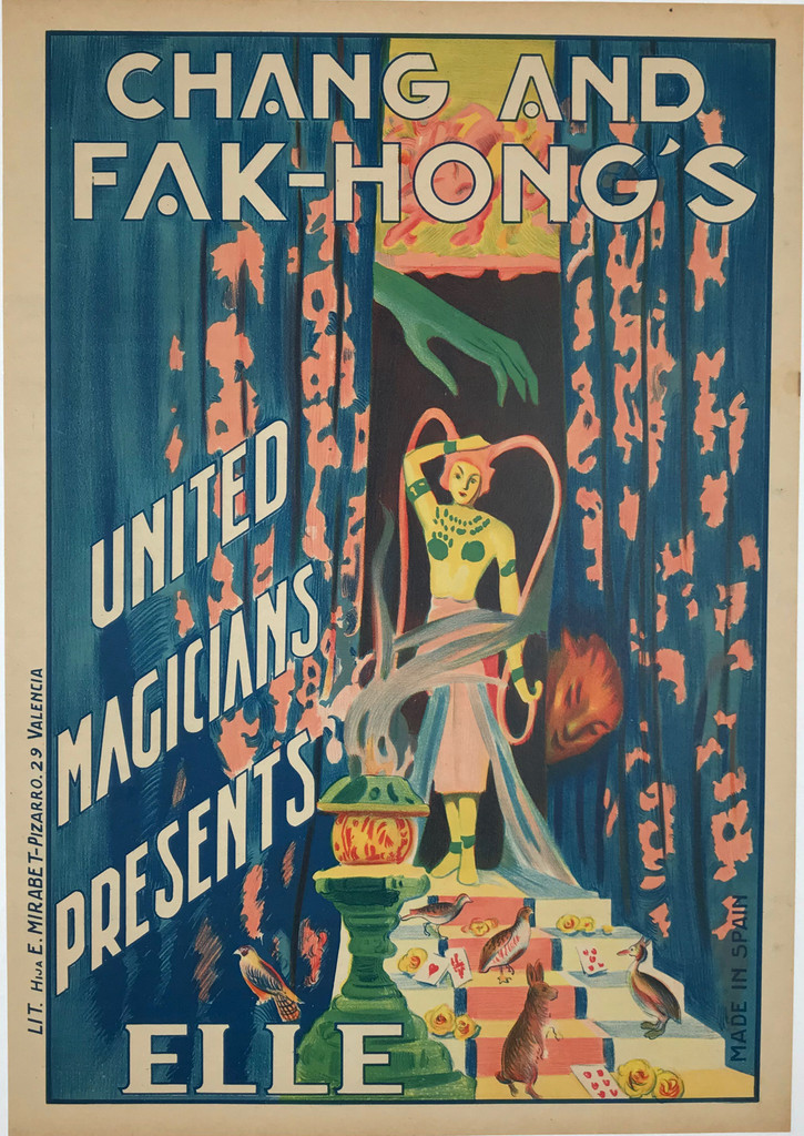 Chang and Fak-Hong's United Magicians Presents Elle Original 1920's Spanish Magic Stone Lithograph Advertisement Vintage Poster Linen Backed.