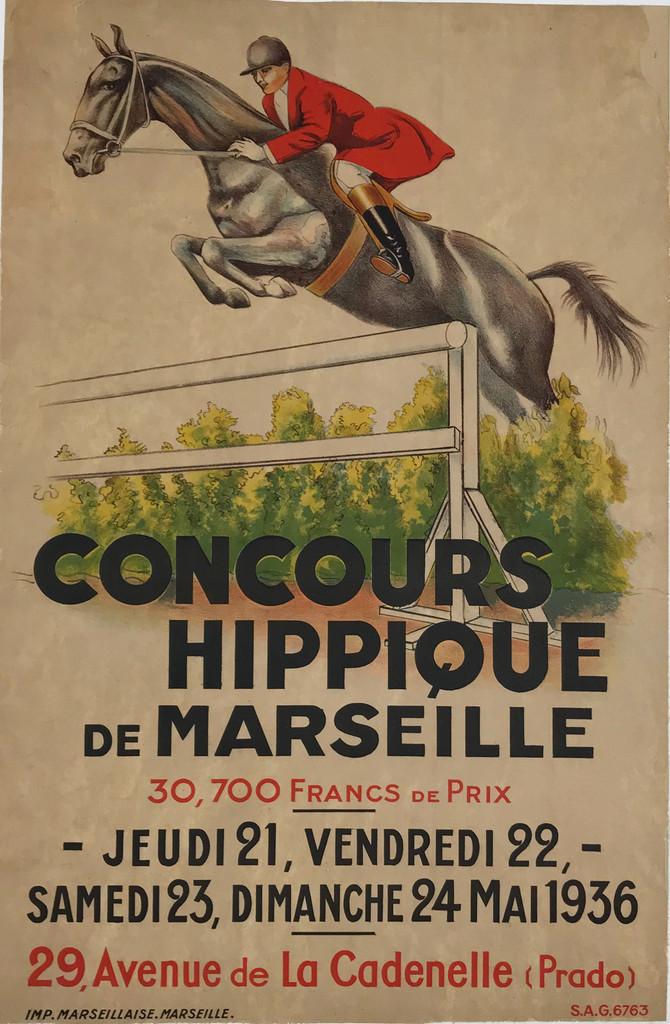 Concours Hippique De Marseille 1936 Original French Vintage Poster Linen Backed.