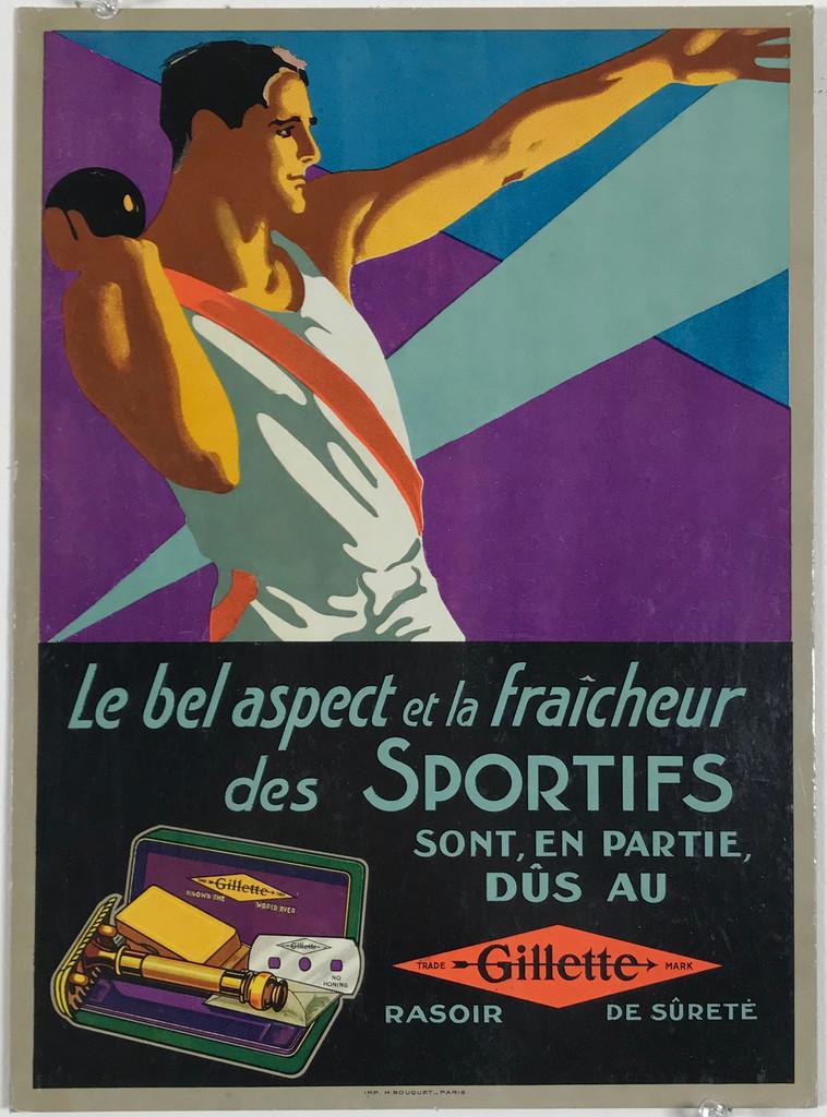 Gillette Rasoir des Sportifs Original 1940's Vintage French Store Display (Carton) Advertising Lithograph Poster.