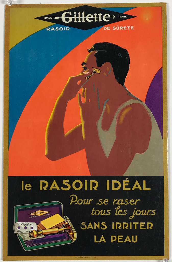Gillette Le Rasoir Ideal Original 1940's Vintage French Store Display (Carton) Advertising Lithograph Poster.