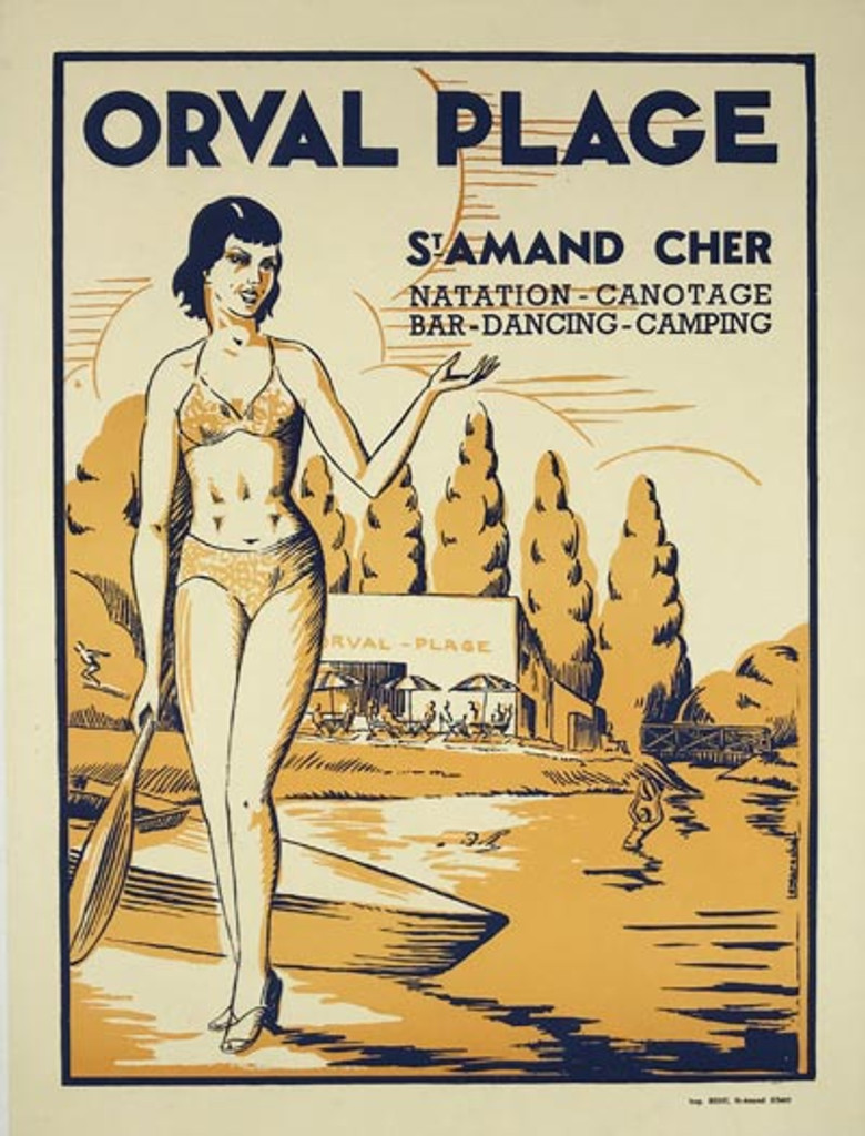 French Orval Plage St Amand Cher Poster