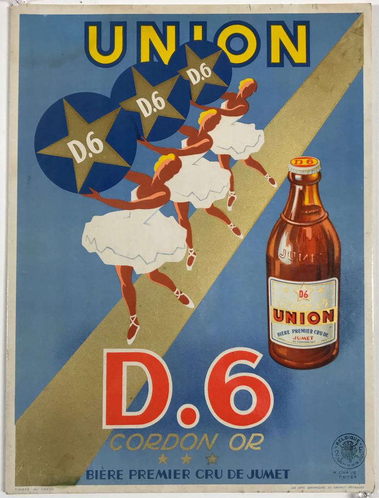 Union D.6 Cordon Or Biere by Chavez Peyer Original 1940 Vintage Belgium (Carton) Store Display for Beer. Vinatge Antique Original Lithograph Poster.