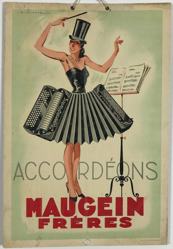 Accordeons Maugein Freres by Lataste Original 1930 French Vintage Store Display Poster.