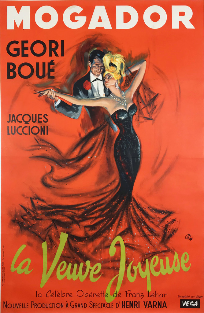 "Mogador La Veuve Joyeuse  Operette by Okley Original 1962 French Vintage Poster Linen Backed. ""The Merry Widow"""
