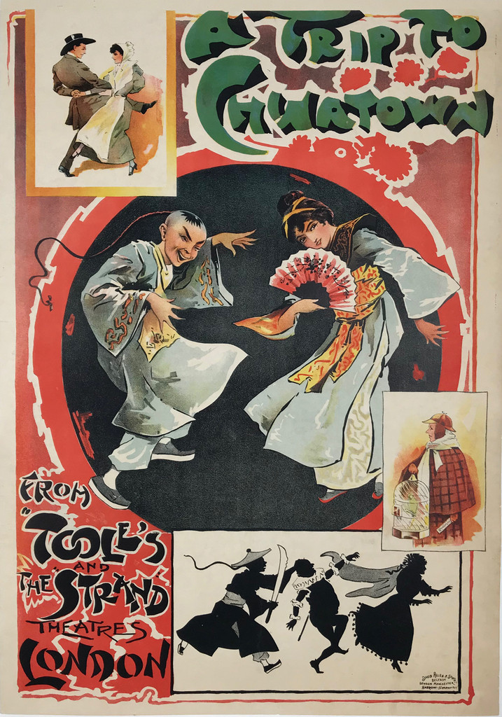 A Trip To Chinatown by David Allen & Sons Original 1920 English Vintage Lithograph Poster Linen Backed.