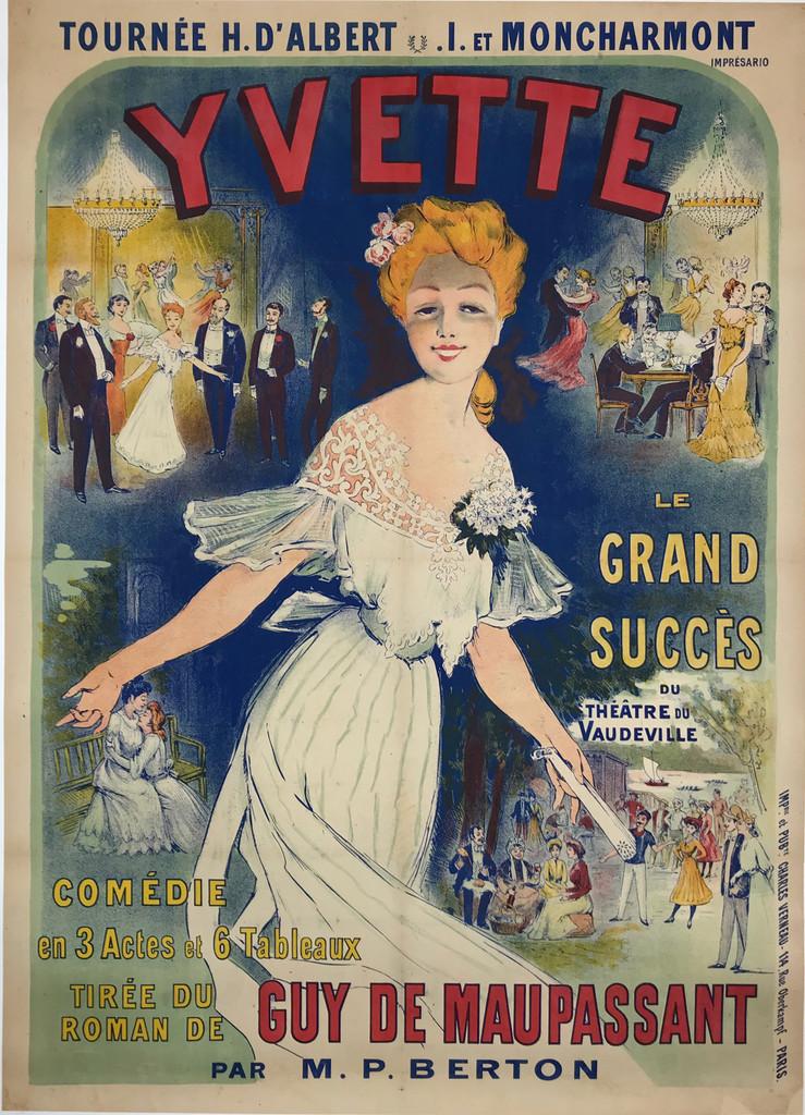 Yvette Le Grand Succes Du Theatre Comedie Original 1890's Antique French Stone Lithograph Vintage Advertising Poster Linen Backed.