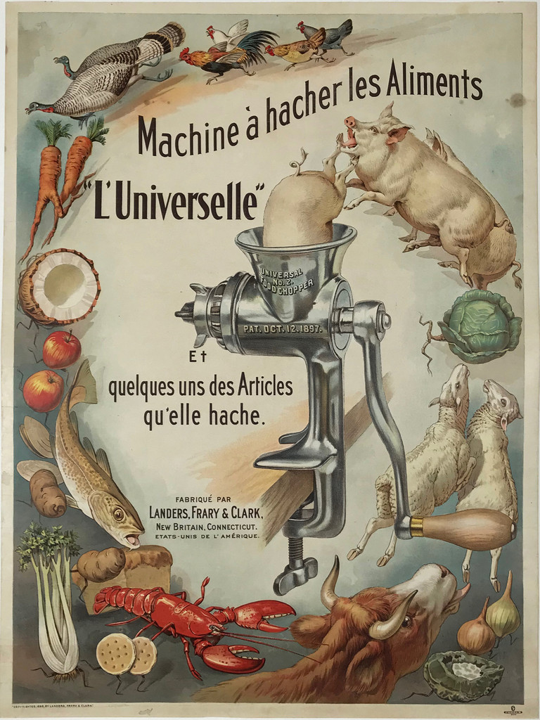 Universal No. 2 Food Chopper By Forbes Printing Company Boston Antique Original 1899 Vintage Stone Lithograph Advertisement Poster.