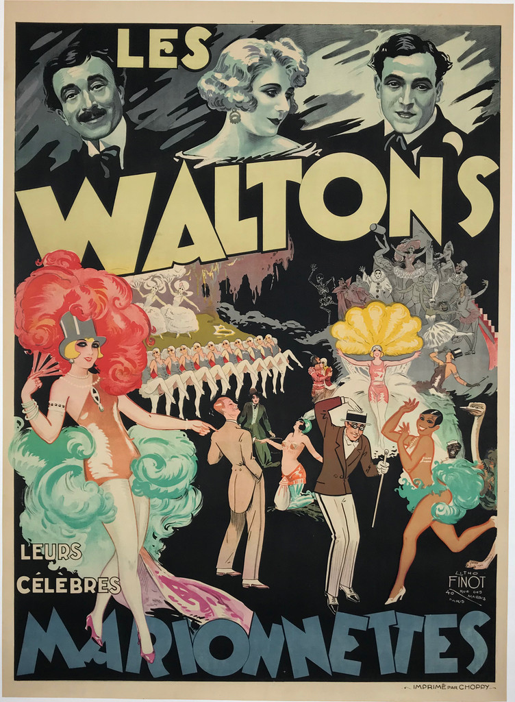 Les Walton's Marionnettes by Emile Finot Original 1930 Vintage French Theater Poster Linen Backed. Josephine Baker, Marx Brothers