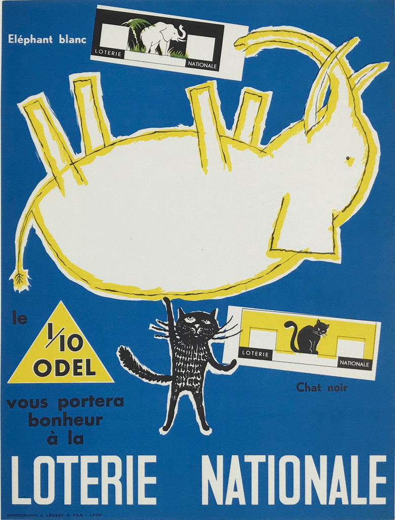 Loterie Nationale Elephant Blanc Chat Noir By Impressions A Lemery & Fils Original 1950  Vintage French Plate Lithograph Advertisement Poster Linen Backed.