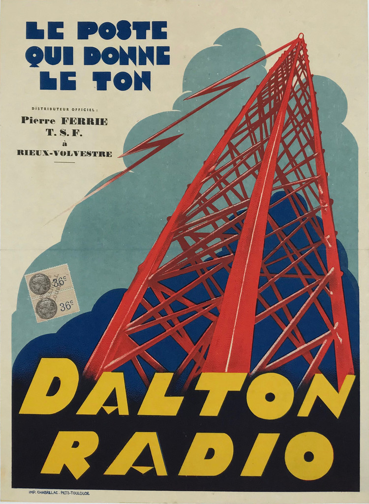 """Dalton Radio by Impremerie Chabrillac Original 1930 French Vintage Stone Lithograph Advertisement Poster Linen Backed. """"The station that sets the tone."""""""
