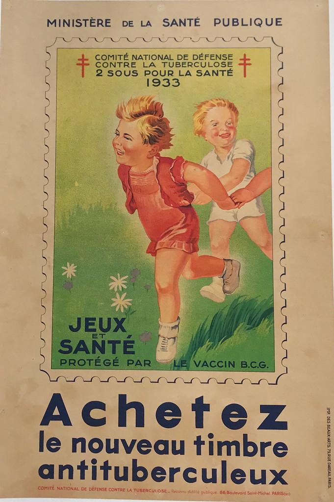 """Achetez Le Nouveau Timbre Antituberculeux Original 1933 Vintage French Medical Warning Poster. Tuberculosis  """"Ministère de la santé publique."""""""
