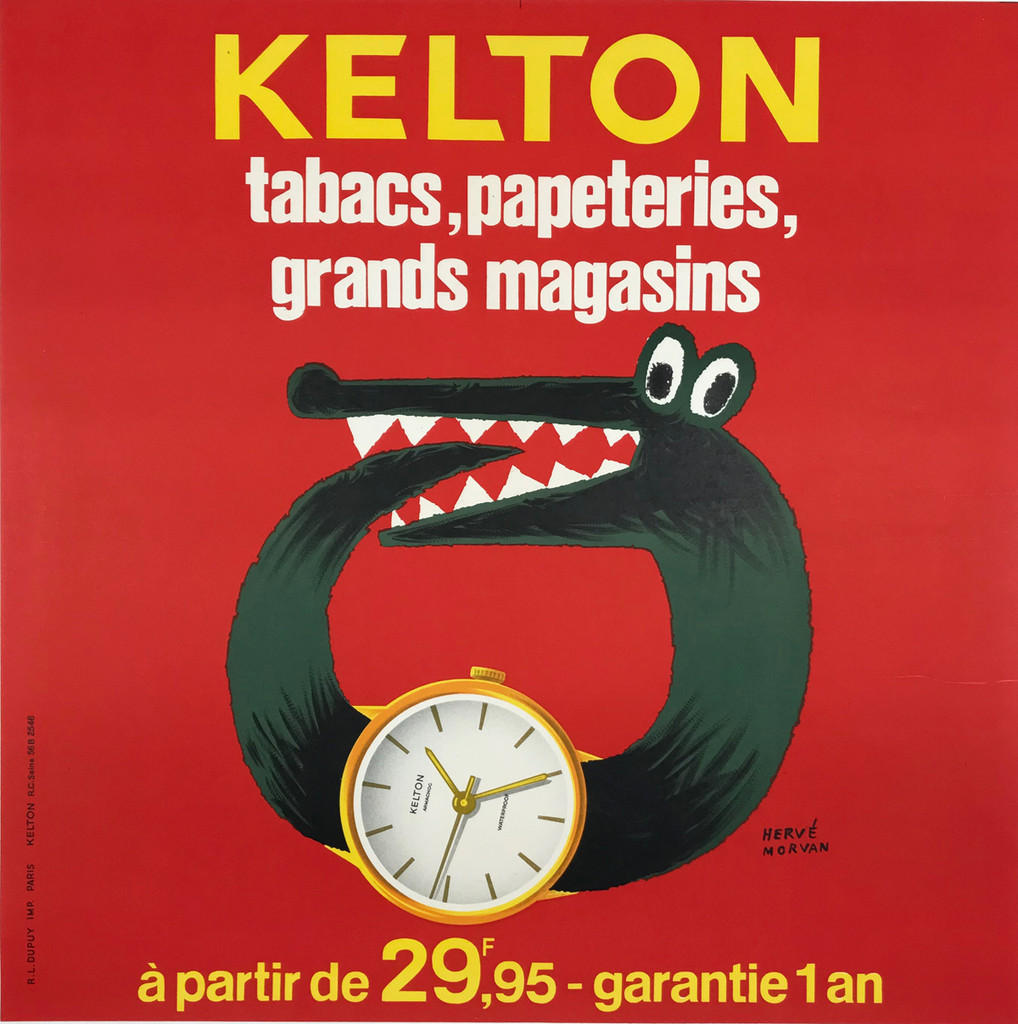 Montres Kelton Watches by Herve Morvan Original 1966 Vintage French Advertising Lithograph Poster Linen Backed.