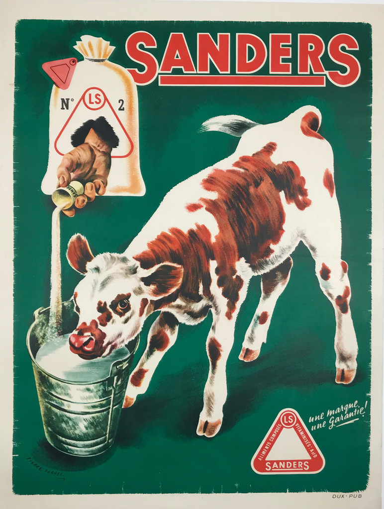 Sanders Veal Food by Pierre Dardel Original 1940 Vintage French Poster Linen Backed.