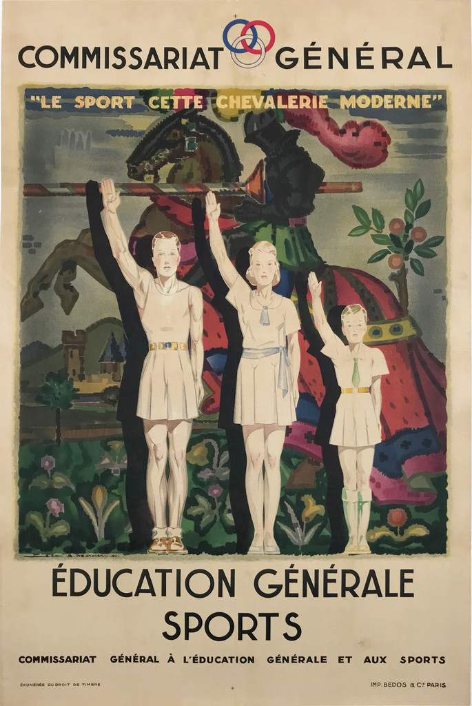 """Commissariat General France Education Generale Sports by Jean Mercier Original 1940 Vintage Advertising Poster Linen Backed. """"Sport This Modern Chivalry"""""""