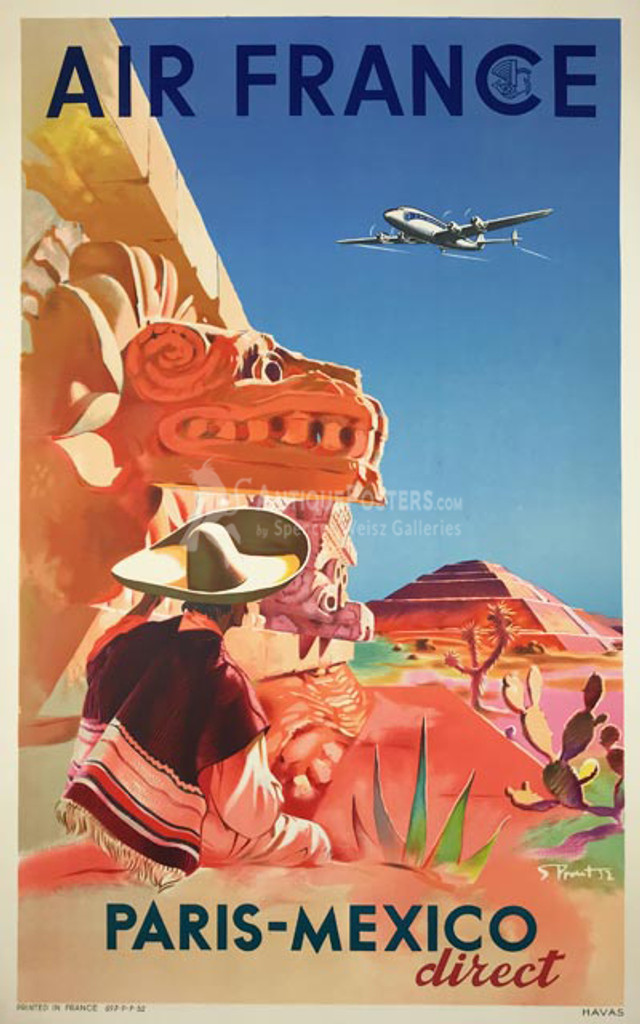 Air France Paris - Mexico Direct original French 1952 vintage travel poster by S. Prout.