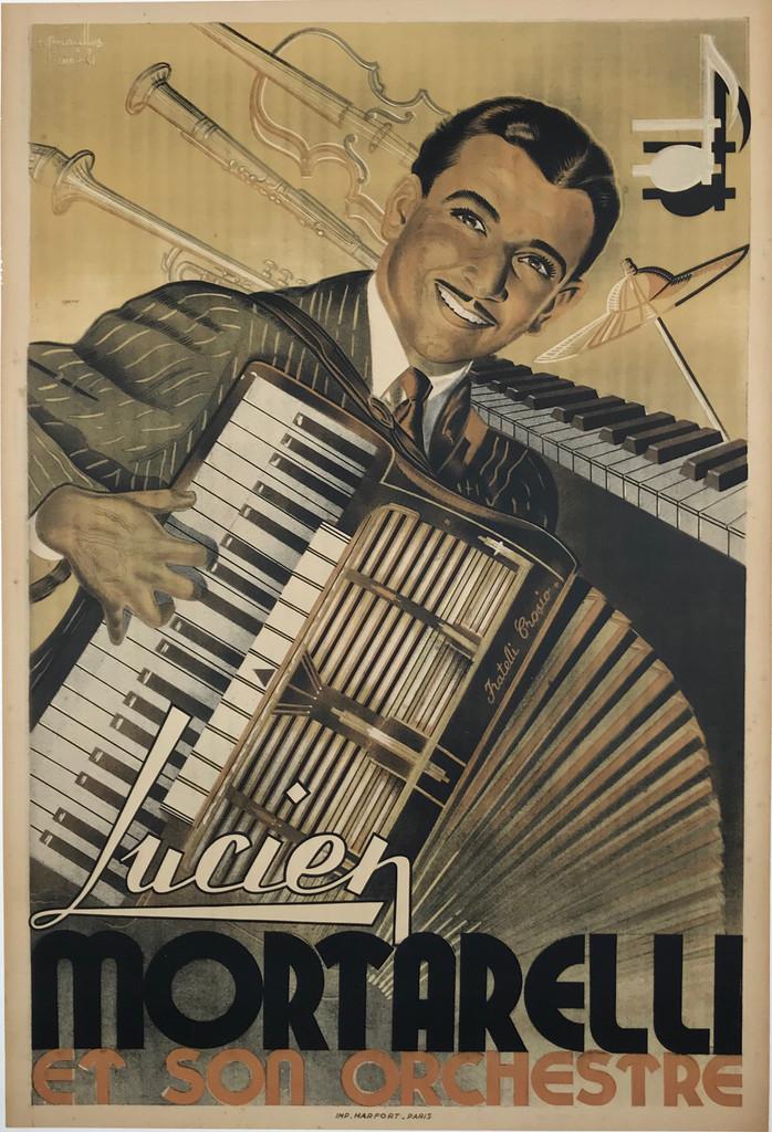 Lucien Mortarelli Et Son Orchestre by Moraelles Original 1947 Vintage French Lithograph Advertising Poster.