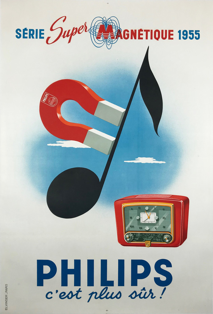 Philips Radio Serie Super Magnetique by Elvinger Original 1955 Vintage French Advertisng Lithograph Poster Linen Backed.
