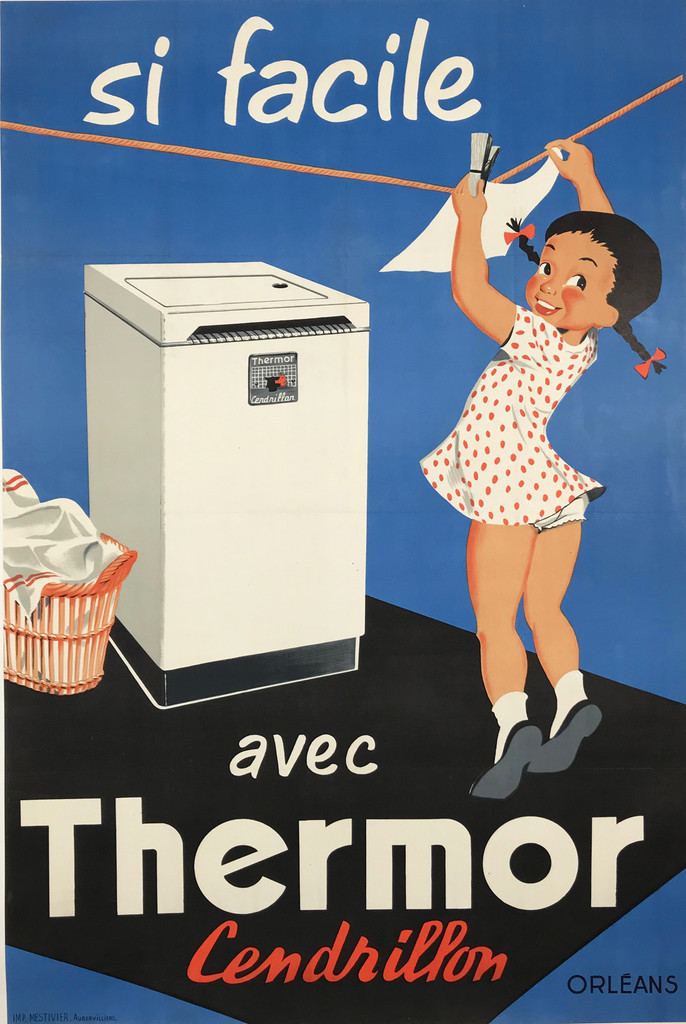 Thermor Cendrillon Si Facile by Imprimerie Mestivier Original 1958 French Vintage Lithograph Advertising Poster. French Washing Machine Advertisement.
