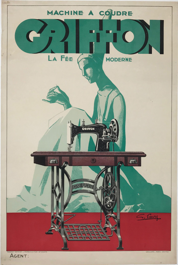 Griffon Machine A Coudre  by G. Favre Original 1928 Vintage French Sewing Machine Advertisement Poster Linen Backed.