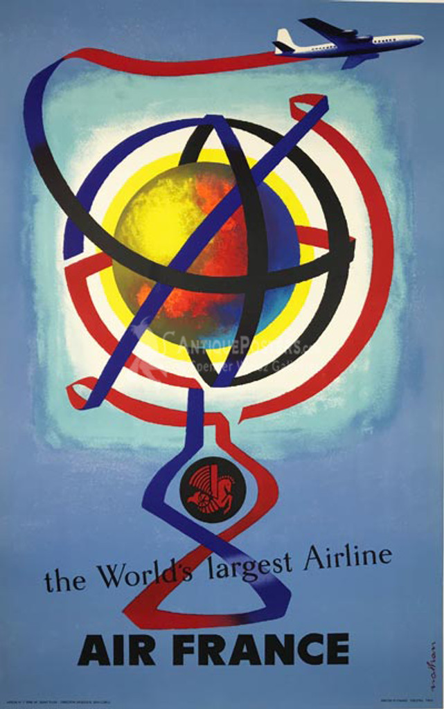 Air France The Worlds Largest Airline original 1956 French travel poster for advertising the largest commercial fleet for the time. Artwork by Nathan - Premium Linen backing