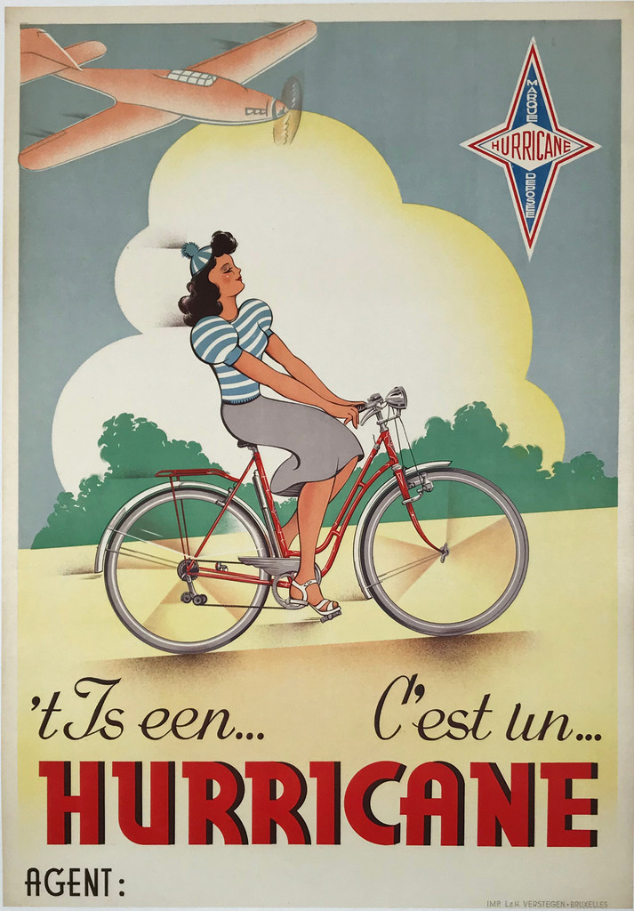 Hurricane Cycles by Impremerie L & H Verstegen Original 1950 Vintage Belgium Cycle Company Advertising Poster Linen Backed