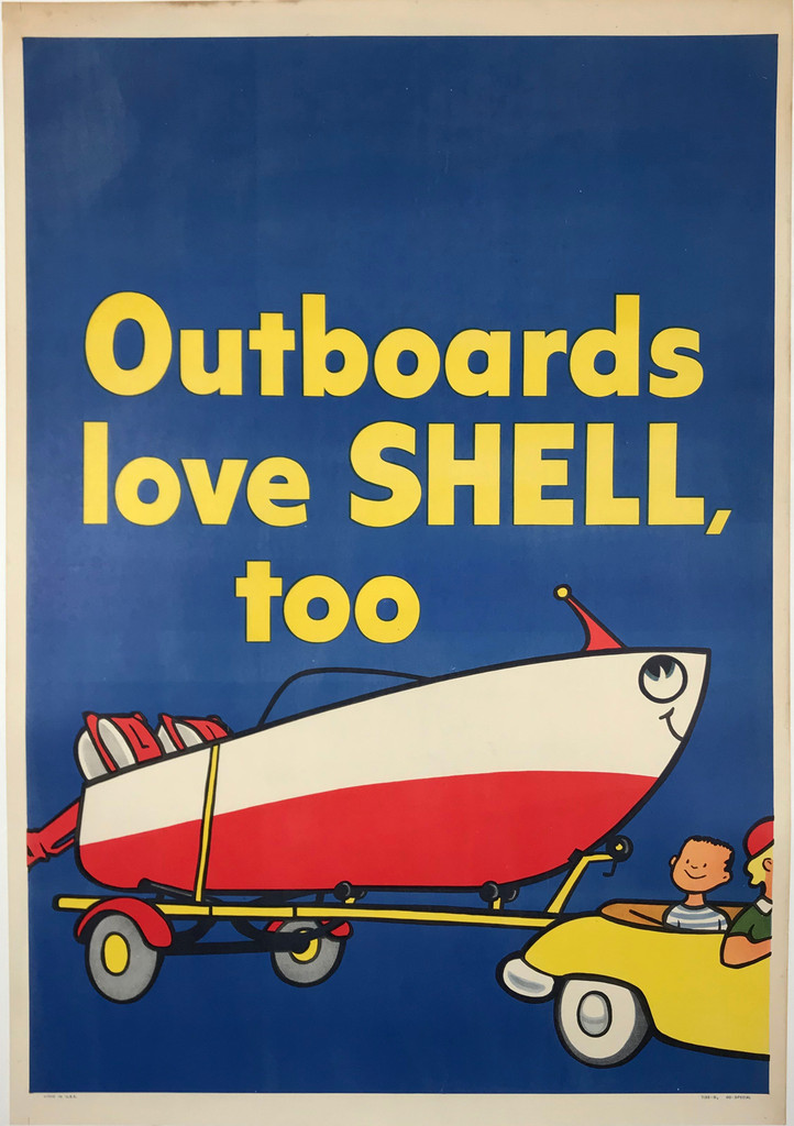 Outboards Love Shell, Too Original 1958 Vintage American Motor Oil Advertisement Poster Linen Backed.