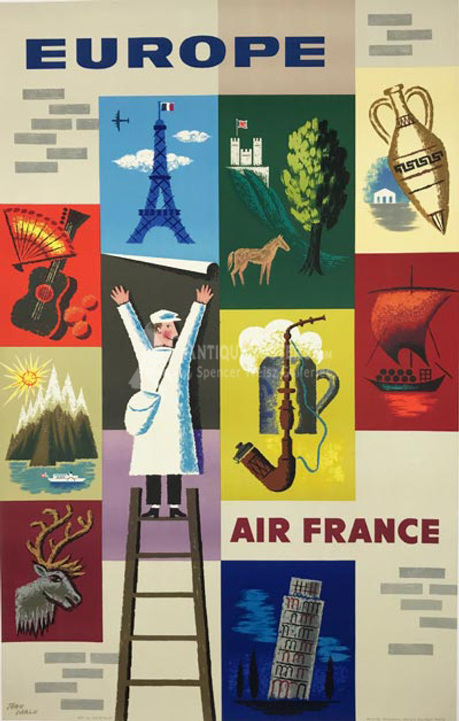 Air France to Europe original vintage travel poster by Jean Carlu from 1957 France.
