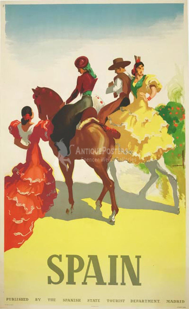 Spain original vintage travel poster by Morell from 1949.