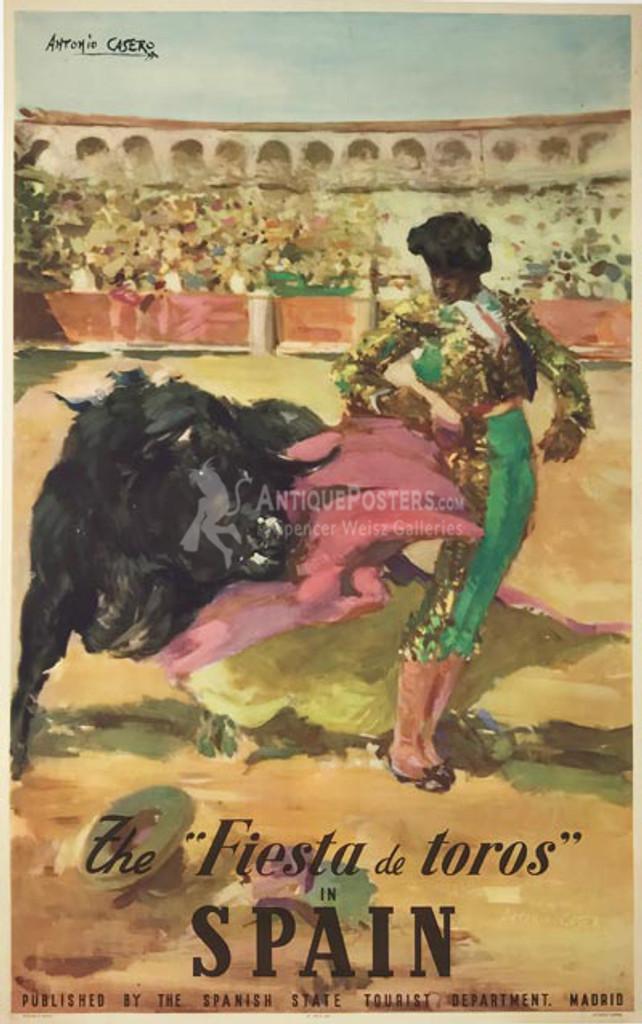 The Fiesta de Toros in Spain original vintage travel poster by Antonio Casero from 1947.