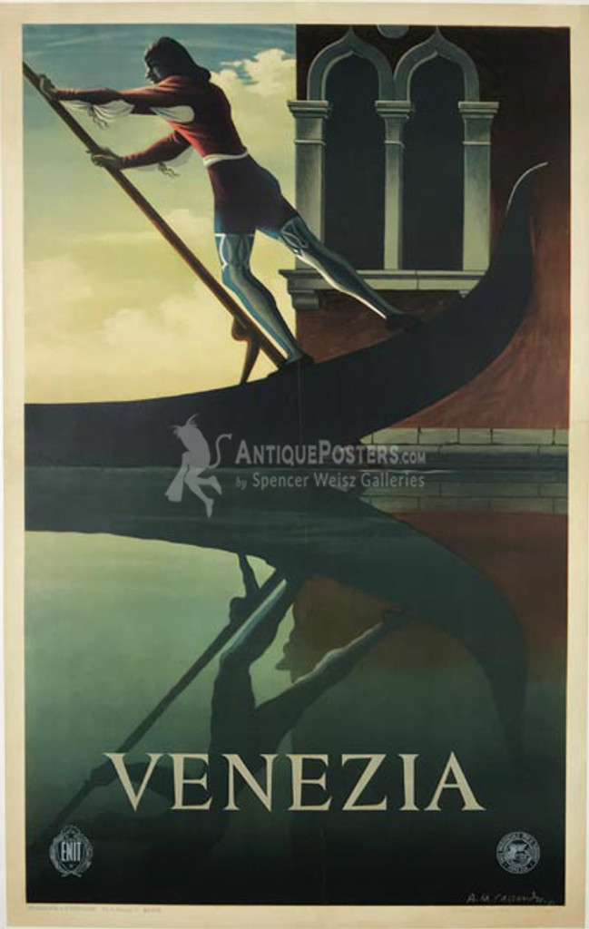 Venezia original vintage travel poster by A.M. Cassandre from 1951 Italy. Features a man rowing gondola at sunset and his reflection in a water.