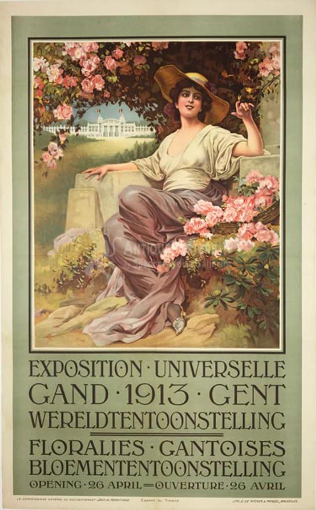 Exposition Universelle Gand 1913 Gent original vintage Belgium poster flower show advertisement