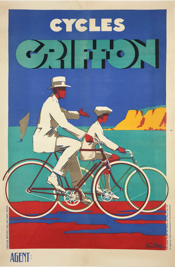 Cycles Griffon original vintage bicycles poster by G. Favre from 1926 France.