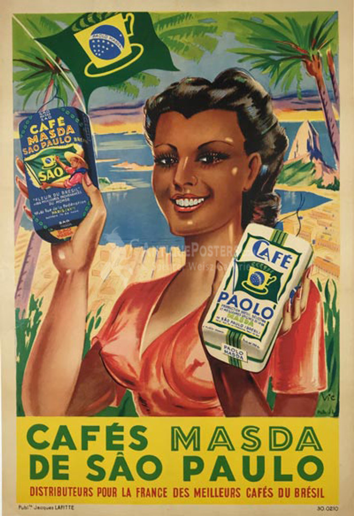 Cafes Masda De Sao Paulo original 1948 vintage poster French culinary food lithograpic advertisement.