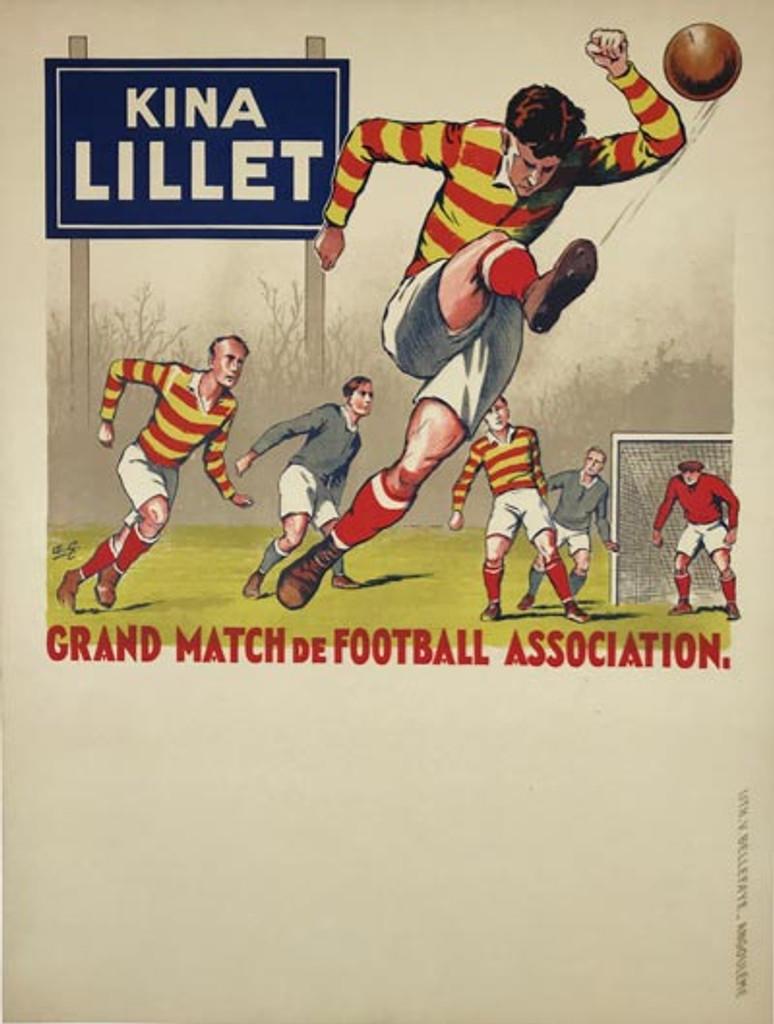 Kina Lillet Grand Match De Football Association original vintage poster by Andre Galland from 1930 France