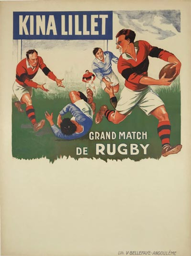 Kina Lillet Grand Match De Rugby original 1930 French vintage poster by Andre Galland.