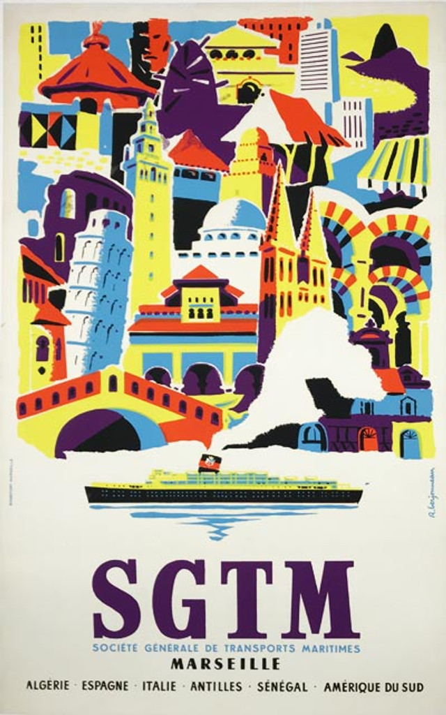 1955 SGTM Marseille Poster