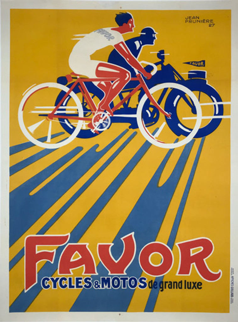 Favor Cycles Motos de Grand Luxe original vintage bicycles and motorcycles poster from 1927 France by Jean Pruniere.