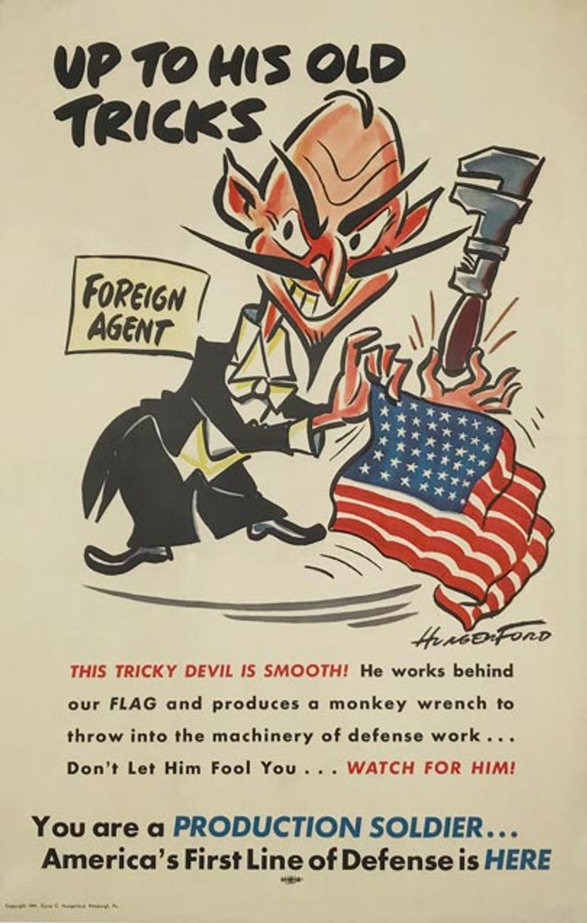 Up To His Old Tricks original 1941 American war Production Soldier propaganda vintage poster by Cyrus C. Hungerford.