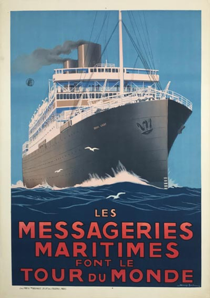 Les Messageries Maritimes Font Le Tour Du Monde original vintage travel poster by Sandy Hook from 1930 France.
