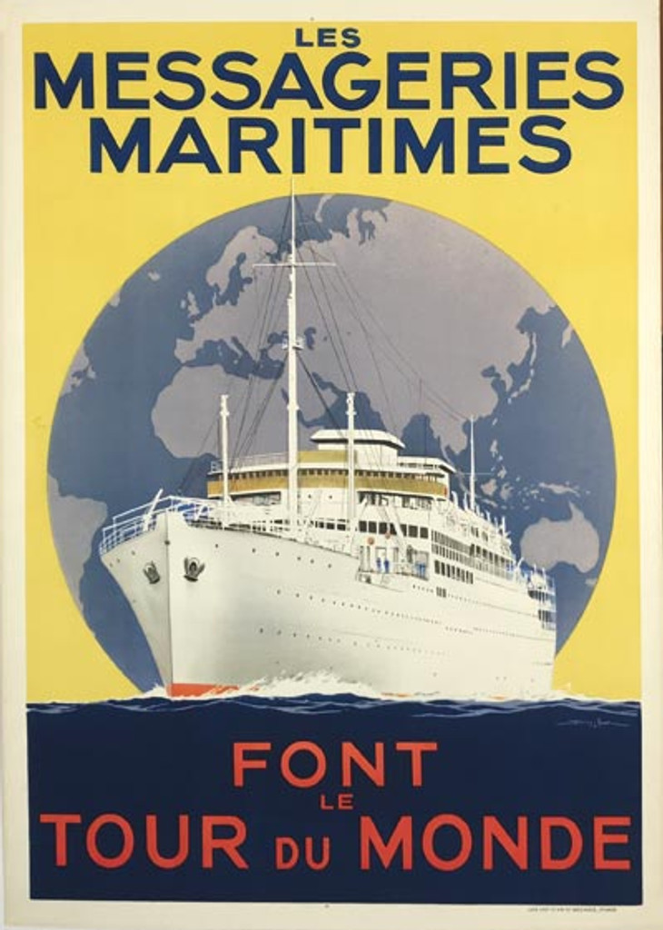 Les Messageries Maritimes Font Le Tour Du Monde original French travel poster by Sandy Hook from 1930 France.