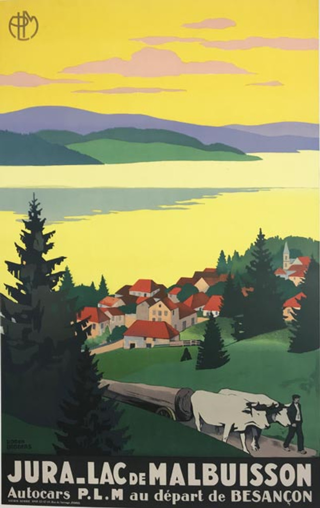 Jura Lac De Malbuisson PLM original 1930 vintage travel poster by Roger Broders.