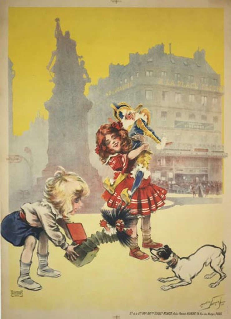 A La Place Clichy Exposition Etrennes Jouets French original vintage poster from 1905 by Maurice Neumont.