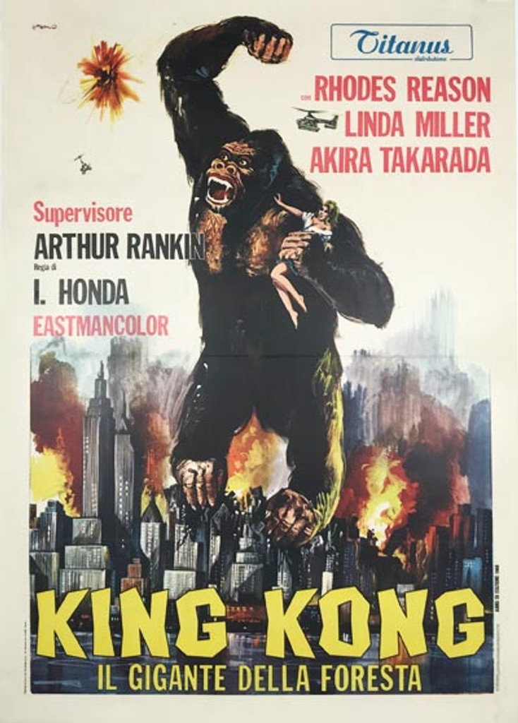 King Kong Escapes original Italian movie poster from 1968 by artist Franco Picchioni.