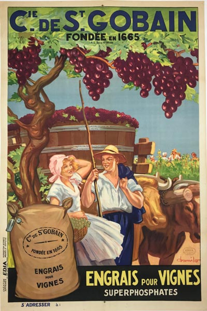 Cie de St Gobain Engrais Pour Vignes Superphosphates original vintage poster from 1926 by Danilo. French product advertising vitamins for grapes.