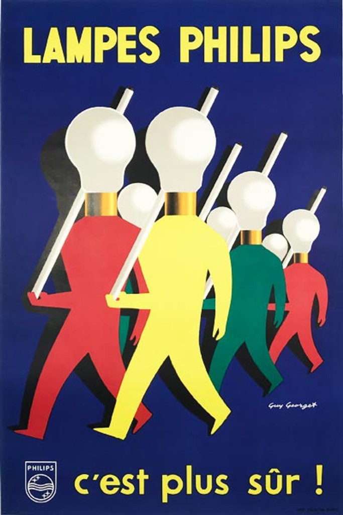 Lampes Philips C est plus Sur original vintage poster by Guy Georget from 1954 French lightbulb advertisement