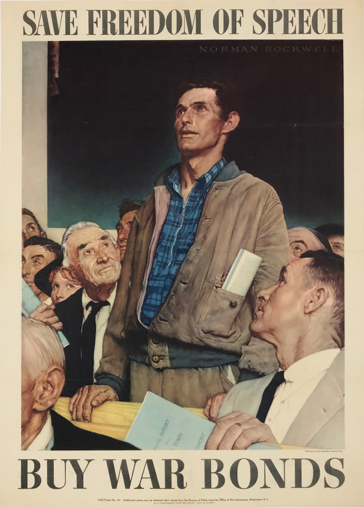 Save Freedom of Speech Buy War Bonds - Four Freedoms by Norman Rockwell - American original vintage poster from 1943 Linen Backed.