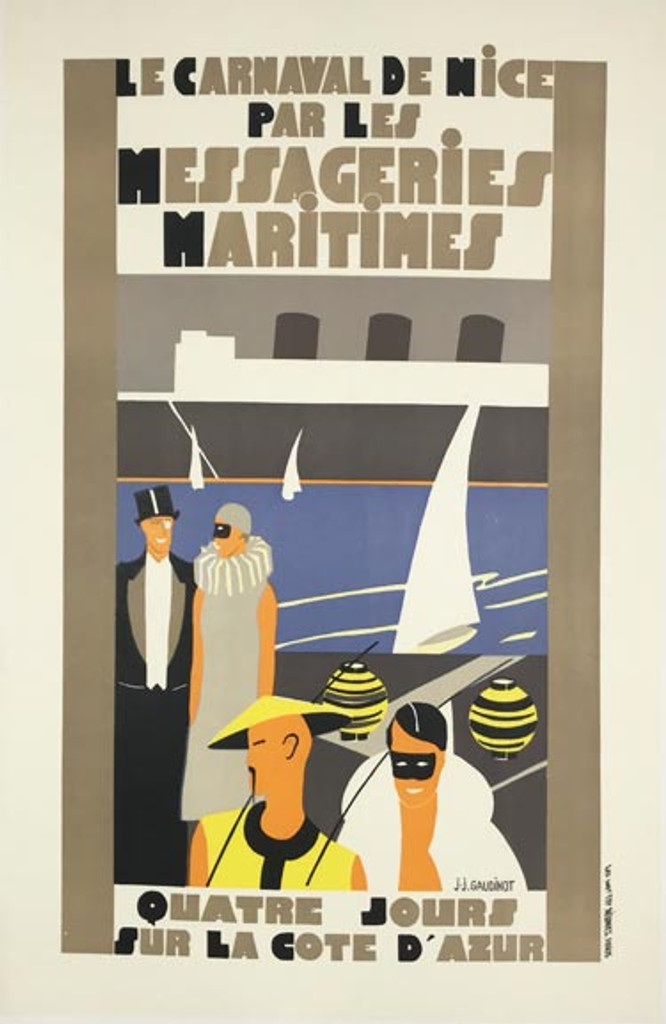 Le Carnaval De Nice Messageries Maritimes original art deco vintage poster by J.J Gaudinot from 1930 France.