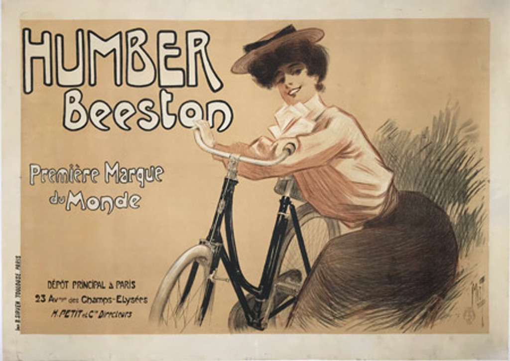 Cycles Humber Beeston original vintage bicycles poster by Misti (Ferdinand Mifliez) form 1900 France.