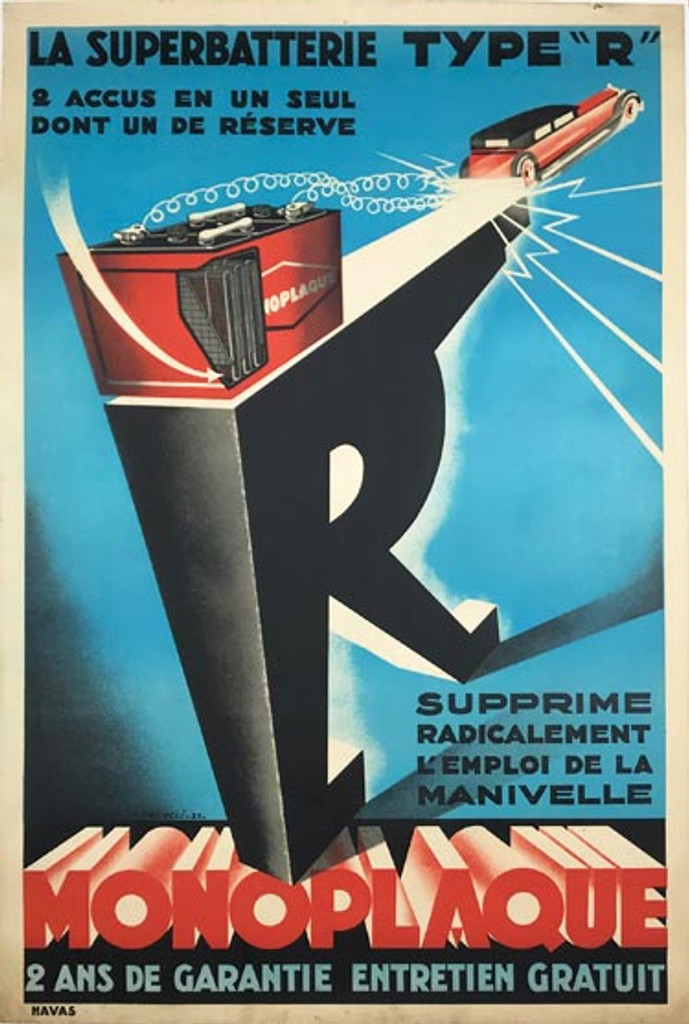 Monoplaque Batterie original vintage poster from 1931 by Falcucci. Automotive lithographic advertisement for car battery.